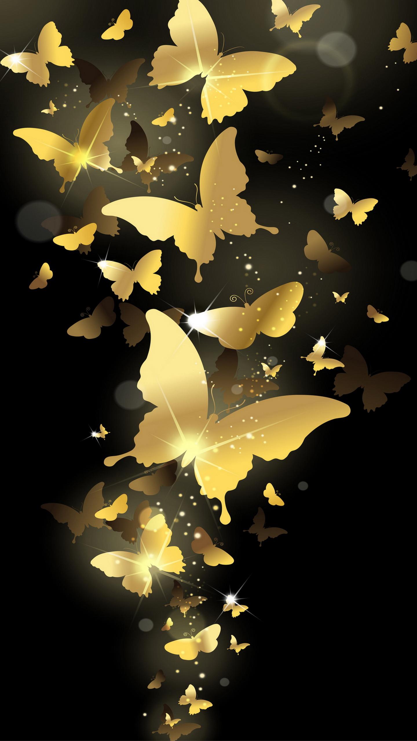 Flying golden butterflies lockscreen lock screen 1440x2560 samsung galaxy note 4 wallpaper quad for Sfondi full hd per smartphone